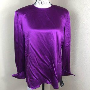 Dana Buchman Purple Long Sleeve Silk Blouse Top 16
